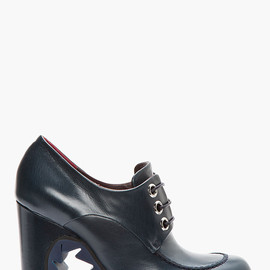 JIL SANDER - Navy leather lace-up Derby boots