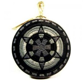 blackmeans - Embroidely Circle Pouch / Purse Monotone / Black FUUDOBRAIN Limited Colour