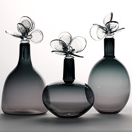 Elizabeth Lyons - Flora Series, Lunaria handblown glass with sculpted stoppers, 12–15-inches tall