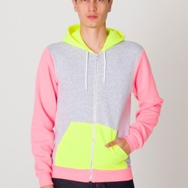American Apparel - Flex Fleece  Three-Tone Zip Hoodie