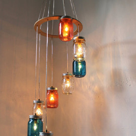 Canopy Mason Jar Chandelier Light - Original BootsNGus Design - Dining Room Table - Kitchen Island Lighting Fixture
