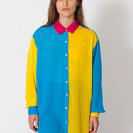 American Apparel - Color Block Oversized Button-Up