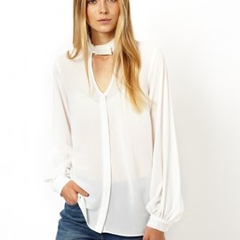 ASOS - Blouse with High Neck and Cut Out Detail Cream / カットアウトディティールブラウス