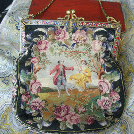 Antique French Petit Point Tapestry Purse