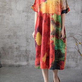 boho dress - linen dress Women Oversized dress summer sundress Loose maternity dress boho dress