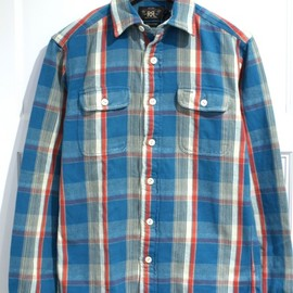 RRL - FLANNEL SHIRTS BLUE/GRAY/RED