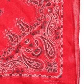 SAINT LAURENT by Hedi Slimane - PRINTED SILK CASHMERE BANDANA SCARF red