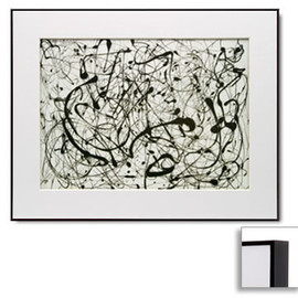Jackson Pollock - Number 14:Gray,Matted Print (Dark Brown Frame)
