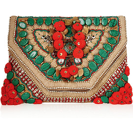 ANTIK BATIK - Cuzco embellished embroidered suede clutch
