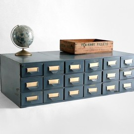 vintage metal card catalog