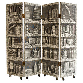 "Fornasetti - Four Panel ""Library"" Trompe L'Oeil Folding Screen  Italy 1970's"