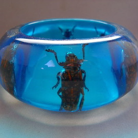 X Wide Blue Lucite Exotic Insect Bug Beetle Bracelet