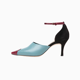 mame - Bi-Color Embossed Leather Ankle Strap