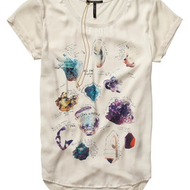 MAISON SCOTCH - Woven And Jersey Mix Tee With Crystal Inspired Artwork