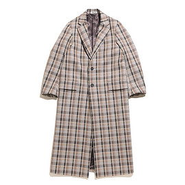 AURALEE - Double Face Check Chesterfield Coat-Brown Check