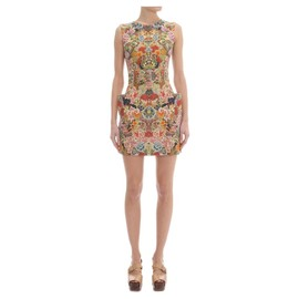 Alexander McQueen - PATCHWORK FLORAL BELTED MINI DRESS