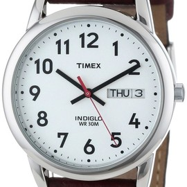 """Timex - Timex Men's T20041 """"Easy Reader"""" Brown Leather Strap Watch"""
