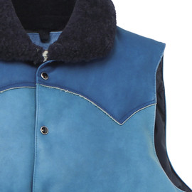 Rocky Mountain Featherbed - LEATHER DOWN VEST SUKUMO HANA-ASAGI