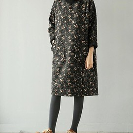 long sleeve dress - Cotton high collar dresses for women, long sleeve dress, winter bottoming dress