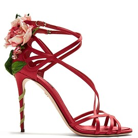 DOLCE&GABBANA - Keira rose-applique satin stiletto sandals