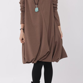 dress - Pile collar cotton dress in light coffee color