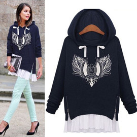 Fashion Embroidery Long Sleeve Hooded Sweatshirt