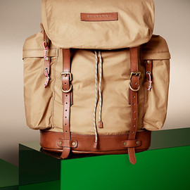 BURBERRY - Leather trim backpack