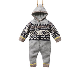 STELLA McCARTNEY KIDS - Beavis: baby hooded all in one, knitted fairisle
