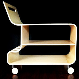 Ross Lovegrove - birch plywood bar cart