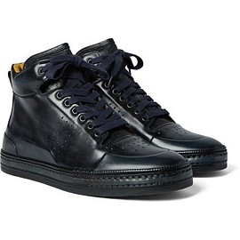 Berluti - Polished Venezia Leather High-Top Sneakers
