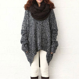 fashion - Image of [grxjy560518]Leisure Oversize Batwing Sleeve Pure Color Knit Sweater