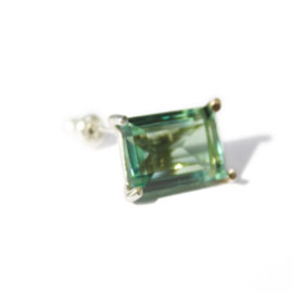 simmon - LOVE K10×SV Crystal Earring (green)