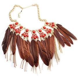 alanatt - Plumage-adorned Short Necklace