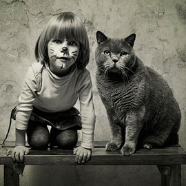 A Girl and Her Cat - by Andy Prokh