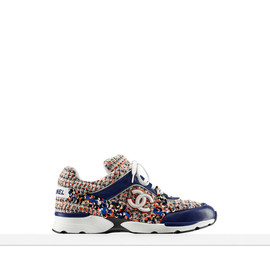 CHANEL - EMBROIDERED TWEED AND CALFSKIN SNEAKERS