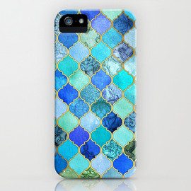 Society6 - Cobalt Blue, Aqua & Gold Decorative Moroccan Tile Pattern iPhone & iPod Case