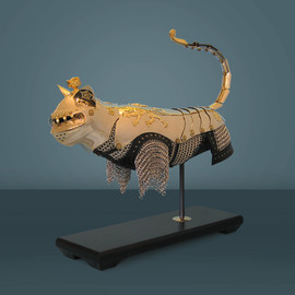Jeff de Boer - tourneycat (nickel, brass, leather, aluminum, mixed media)