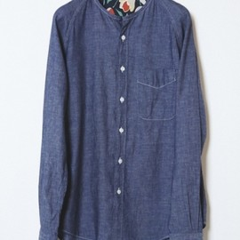 marka - NO COLLAR INDIGO GAUZE CHAMBRAY SHIRTS