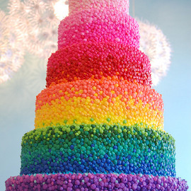 Amazing {Rainbow} Wedding Cake