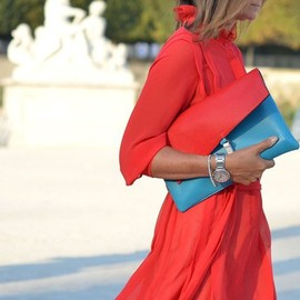 Jill Sander - Red Dress & Two-Tone Clutch