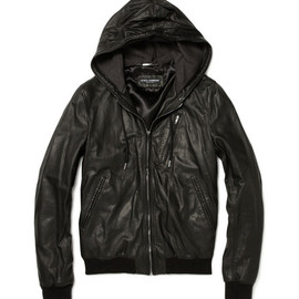 DOLCE&GABBANA - Dolce & Gabbana?Leather Bomber Jacket