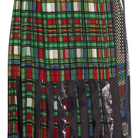 sacai - CHECK PLEAT CHIFFON WRAP QUILTED SKIRT