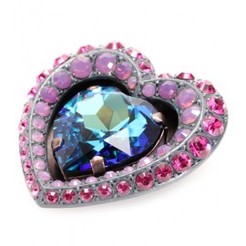 LANVIN - CRYSTAL EMBELLISHED HEART BROOCH