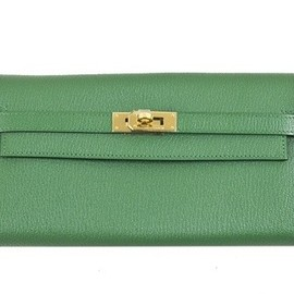HERMES - Kelly Long Wallet / Vert Bengale Chevre Mysore GHW