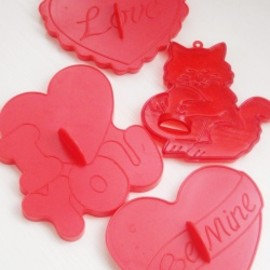 Wilton・amscan - Vintage Wilton & Amscan【I ♥ YOU HEARTS with CAT】クッキー型 4個セット