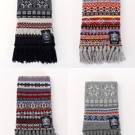 DRAKES - Lambswool Knit Patterned Scarfs