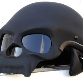 MASEI - MASEI MATT BLACK SKULL 409 MOTORCYCLE CHOPPER HELME