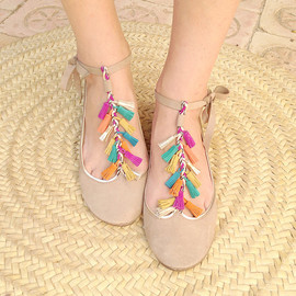 elehandmade - Coloured Tassels Leather Handmade Mary Jane Ballet Flats
