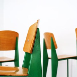 "Jean Prouve - ""Standard"" Chairs, Green"