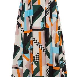 MSGM - Resort2015 Optical Patchwork Long Skirt